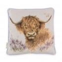 WRENDALE DESIGNS CUSHION HIGHLAND HEATHERS COW
