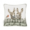 WRENDALE DESIGNS HEE HAW DONKEYS CUSHION