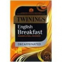 TWININGS ENGLISH BREAKFAST DECAFFEINATED. 50 TEA BAGS